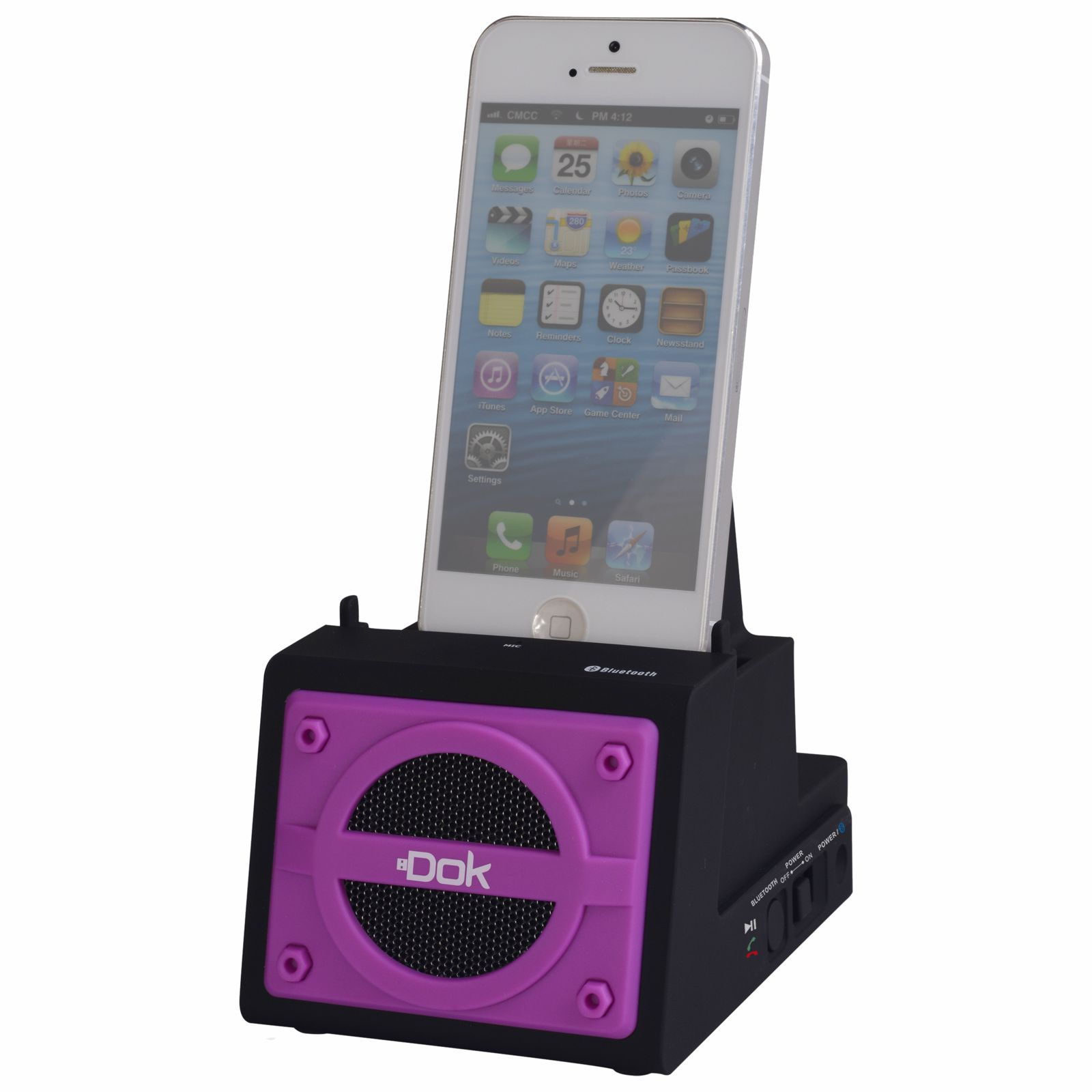 CR13PU - 2 Port Smart Phone Charger with Bluetooth Speaker, Speaker Phone, Rechargeable Battery (Purple Face)