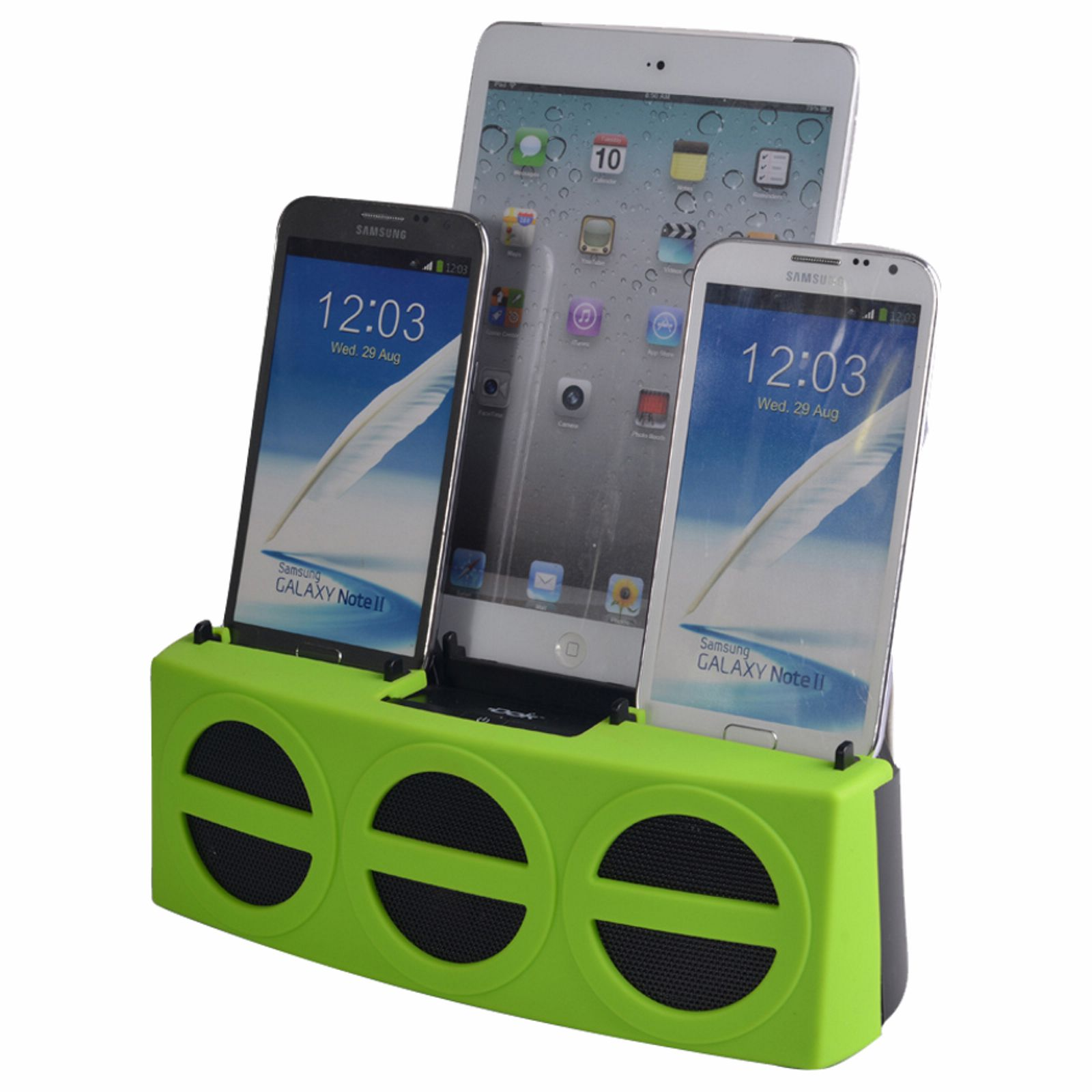 CR22GN - 3 Port Smart Phone Charger with Speaker (Green Face)