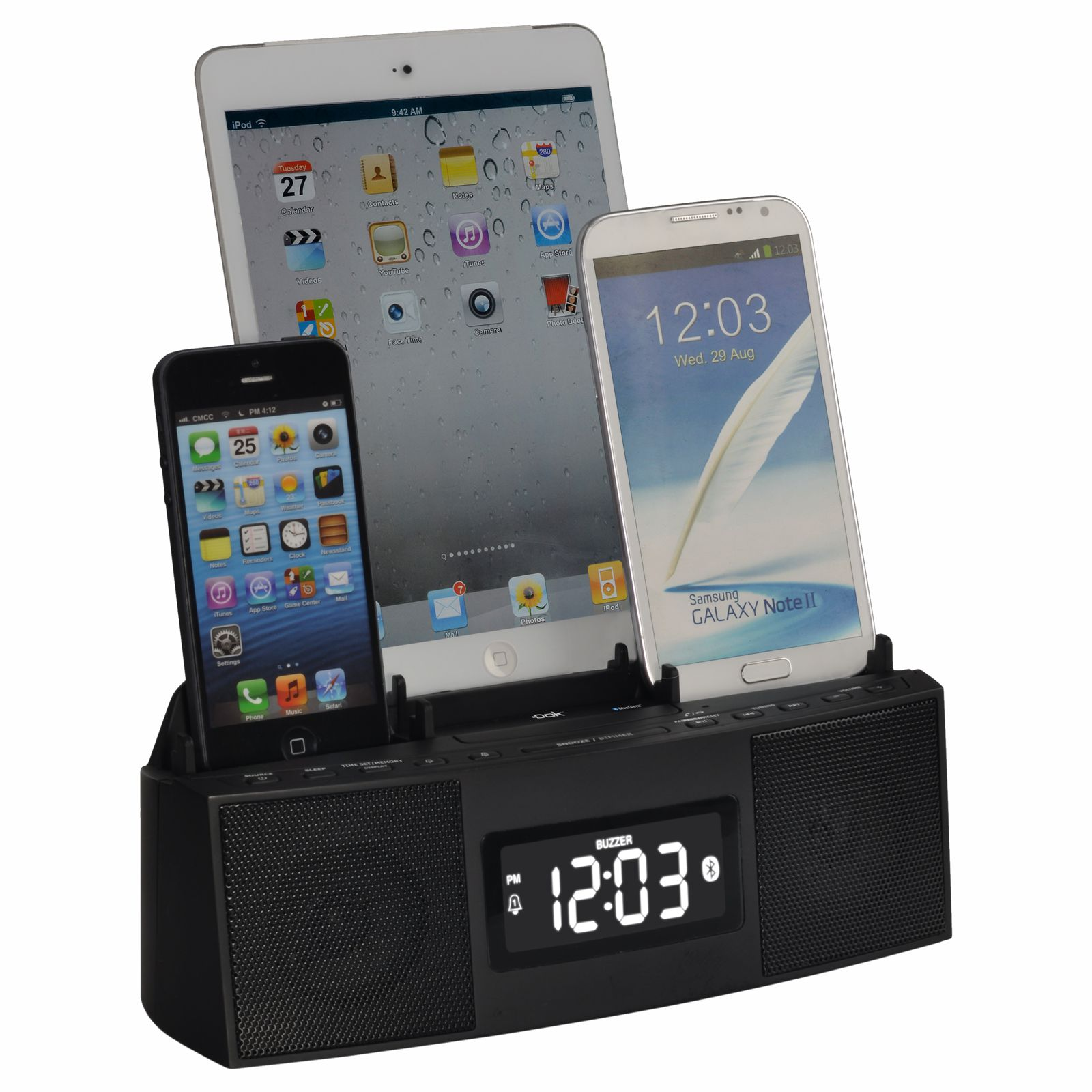 CR28 - 3 Port Smart Phone Charger with Speaker Phone (Bluetooth), Alarm, Clock, FM Radio
