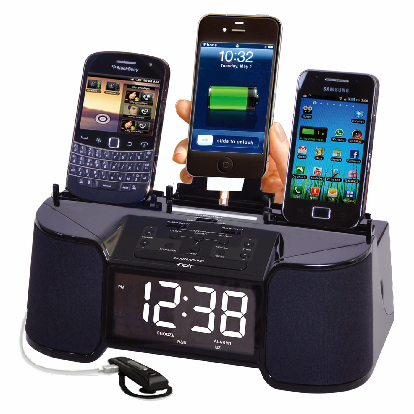 CR32 - 4 Port Smart Phone Charger with Speaker, Alarm, Clock & FM Radio