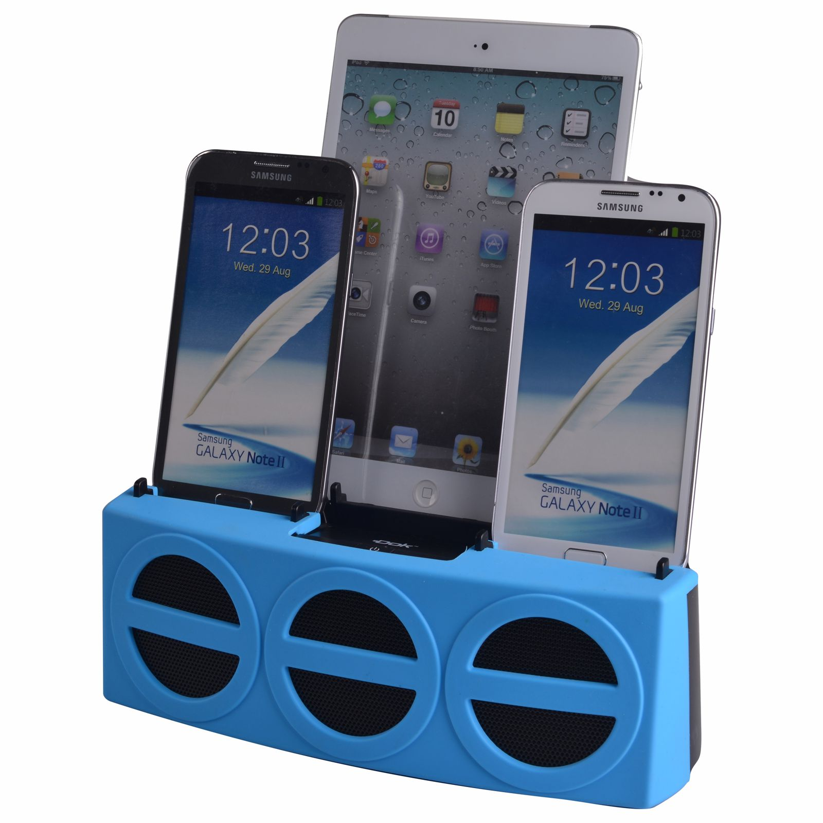CR33BL - 5 Port Smart Phone Charger with Bluetooth Speaker and Speaker Phone (Blue Face)