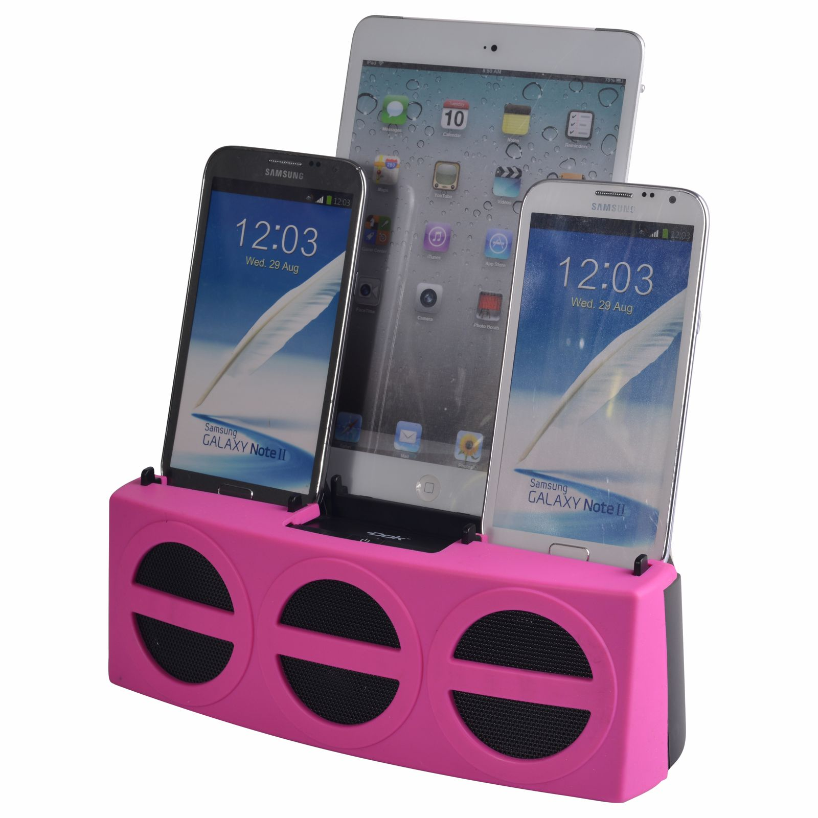 CR33PK - 5 Port Smart Phone Charger with Bluetooth Speaker and Speaker Phone (Pink Face)
