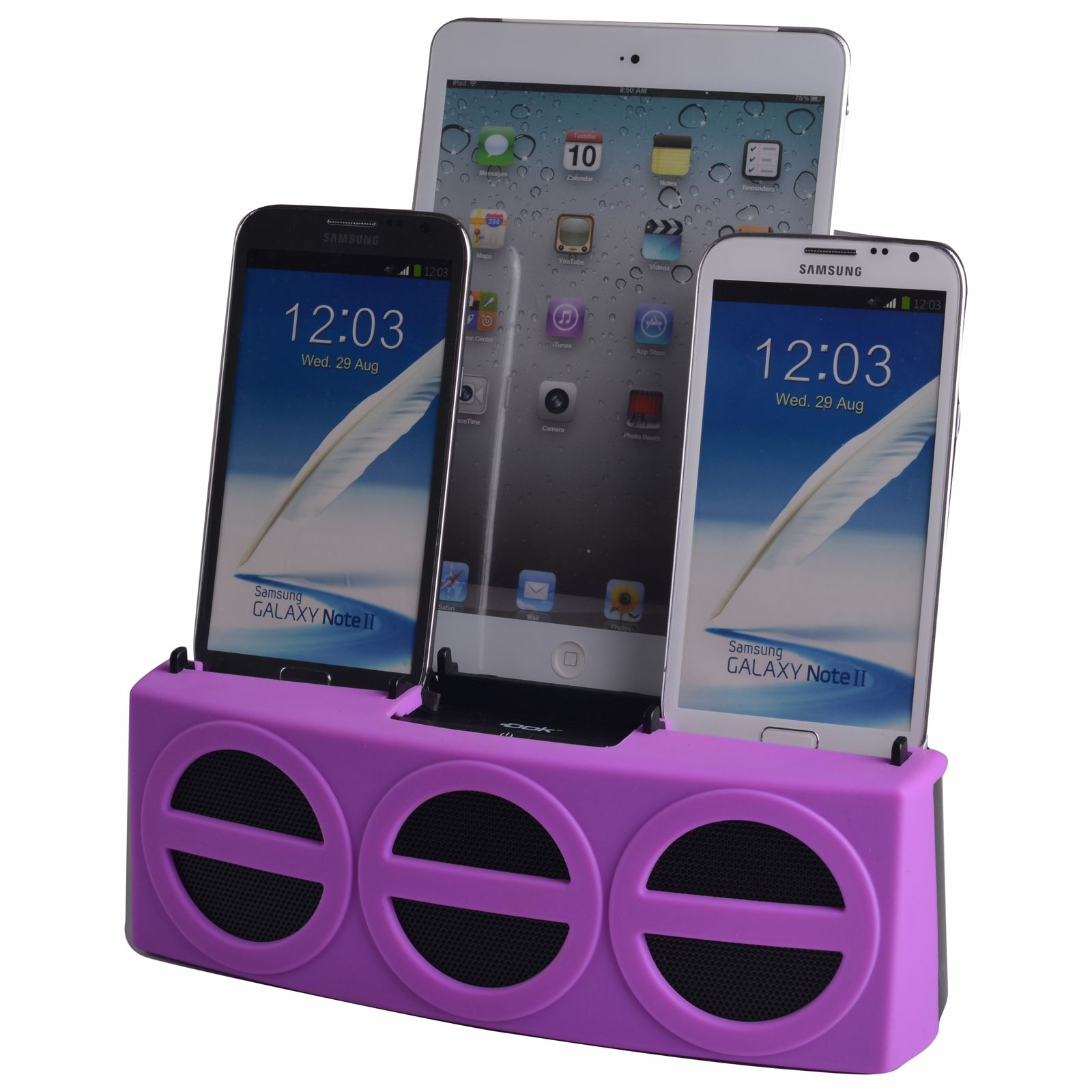 CR33PU - 5 Port Smart Phone Charger with Bluetooth Speaker and Speaker Phone (Purple Face)