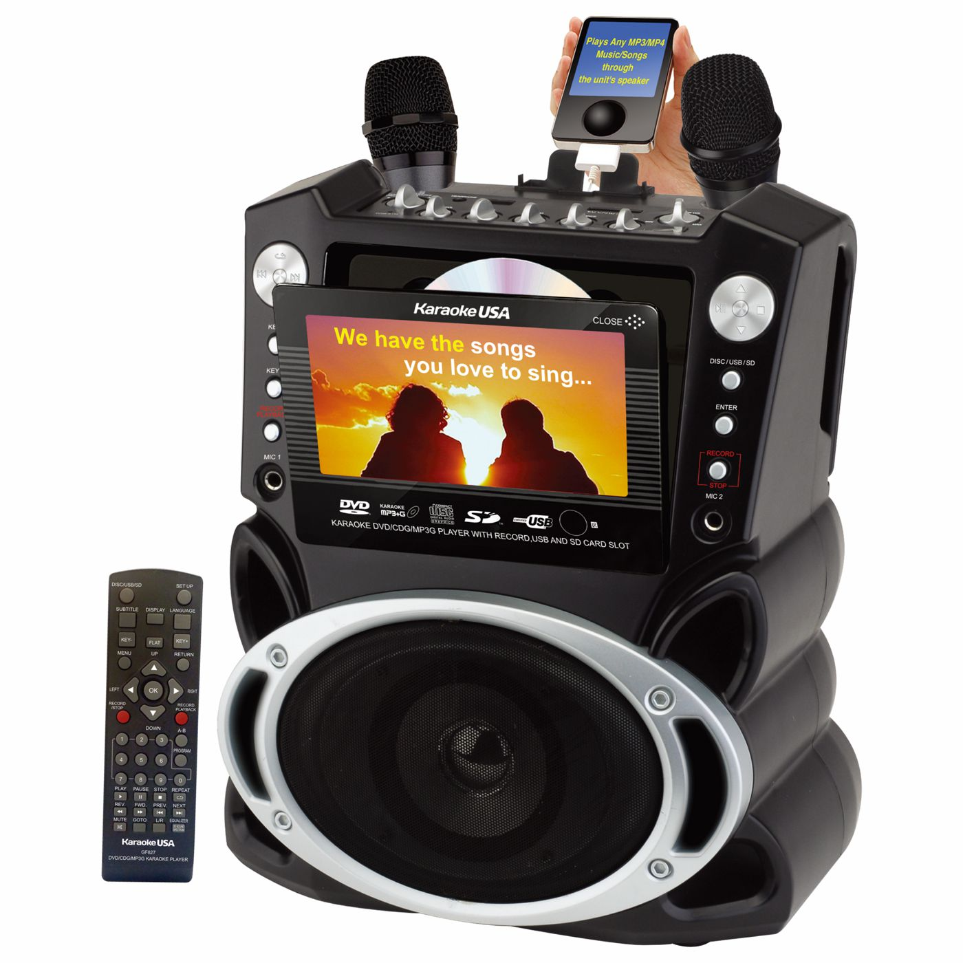 GF829 - DVD/CDG/MP3G Karaoke System with 7