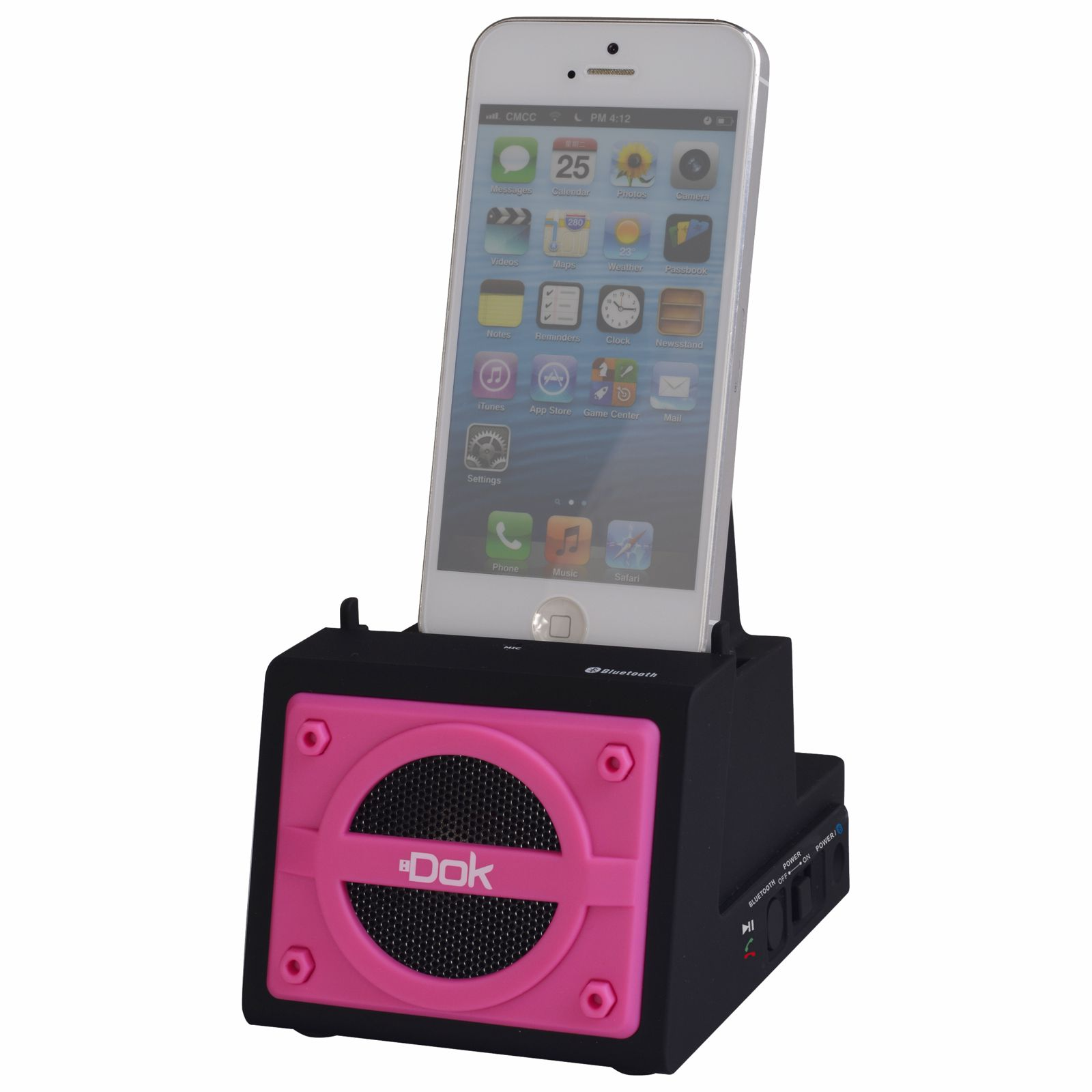 CR13PK - 2 Port Smart Phone Charger with Bluetooth Speaker, Speaker Phone, Rechargeable Battery (Pink Face)