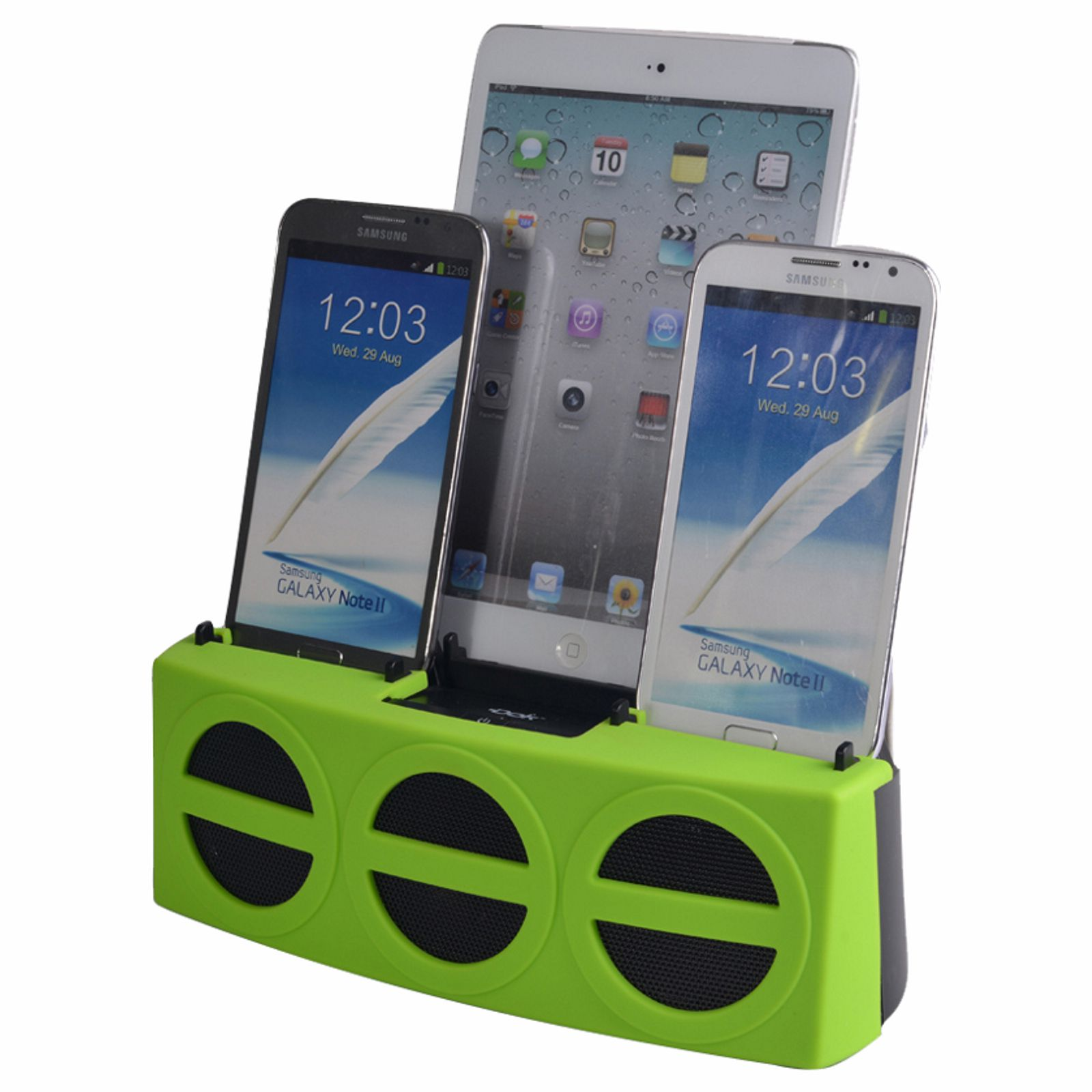 CR33GN - 5 Port Smart Phone Charger with Bluetooth Speaker and Speaker Phone (Green Face)